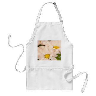 White Daisy Flower Pink Floral Daisies Background Standard Apron