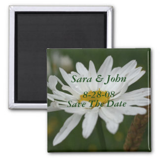 White Daisy Flower Save The Date Wedding Magnet