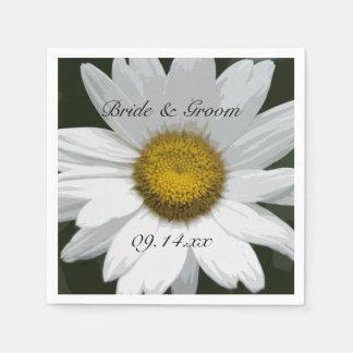 White Daisy Flower Wedding Disposable Serviette