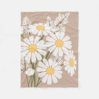 White Daisy Flowers Bouquet on Beige Fleece Blanket