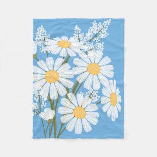 White Daisy Flowers Bouquet on Blue Fleece Blanket