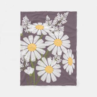 White Daisy Flowers Bouquet on Dark Purple Fleece Blanket