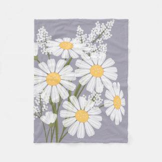 White Daisy Flowers Bouquet on Lavender Fleece Blanket