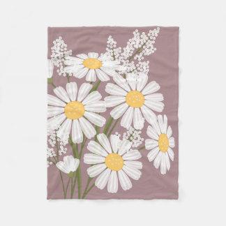 White Daisy Flowers Bouquet on Rosy Brown Fleece Blanket