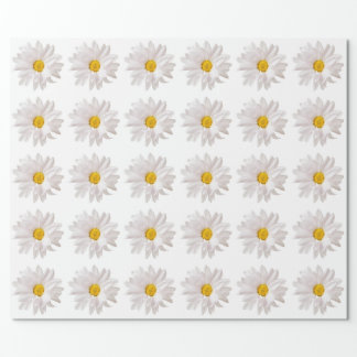 White Daisy Flowers Daisies Flower Floral Template Wrapping Paper