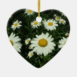 white daisy flowers happy birthday christmas ornament