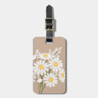 White Daisy Flowers on Beige Luggage Tag