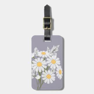White Daisy Flowers on Lavender Luggage Tag