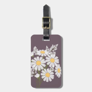 White Daisy Flowers on Plum Luggage Tag