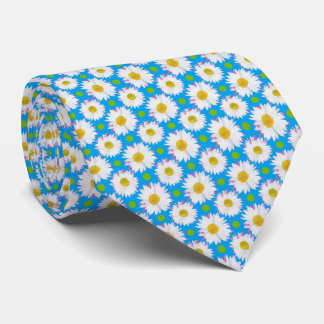 White Daisy Flowers on Sky Blue Background Tie