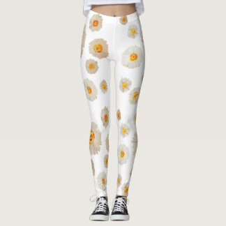 White Daisy Flowers pattern  Custom Leggings