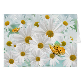 White Daisy Garden with Golden Butterflies Blank Card