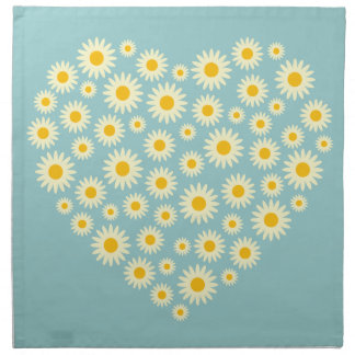 White Daisy Heart Napkins