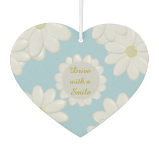 White Daisy Island Breeze Heart Air Freshener