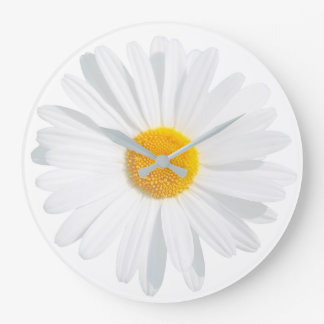 white daisy large clock