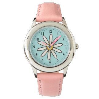 White daisy on aqua blue background watch