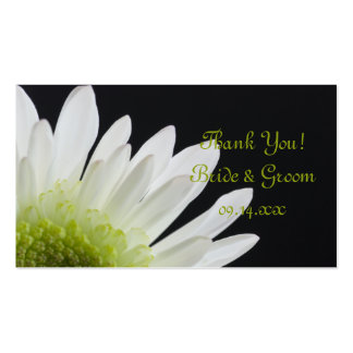 White Daisy on Black Wedding Favor Tags Pack Of Standard Business Cards