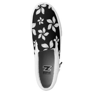 White Daisy on-Black Zipz Slip On-Shoes  US-Women Slip On Shoes