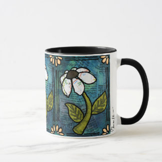 White Daisy on Blue Background - Collage Mug