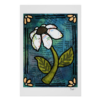 White Daisy on Blue Background - Collage Poster