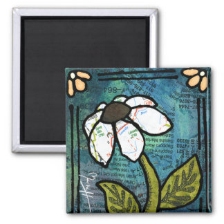 White Daisy on Blue Background - Collage Square Magnet