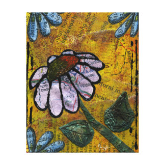 White Daisy on Yellow Background - Collage Canvas Print