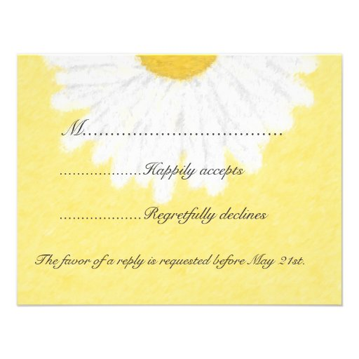 White Daisy on Yellow Wedding RSVP Invite