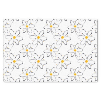 White Daisy Pattern Tissue Paper