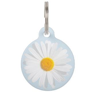 white daisy pet name tag