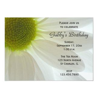 White Daisy Petals Birthday Party Invitation