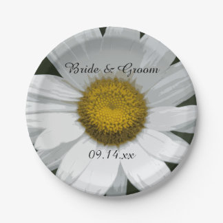 White Daisy Petals Wedding 7 Inch Paper Plate