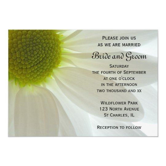 White Daisy Petals Wedding Invitation