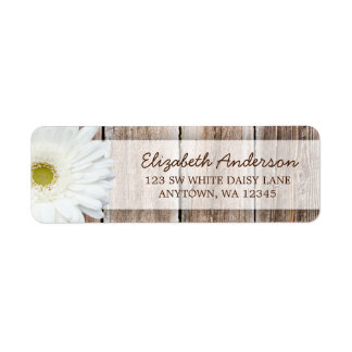White Daisy Rustic Barn Wood Address Labels