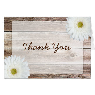 White Daisy Rustic Barn Wood Thank You Cards