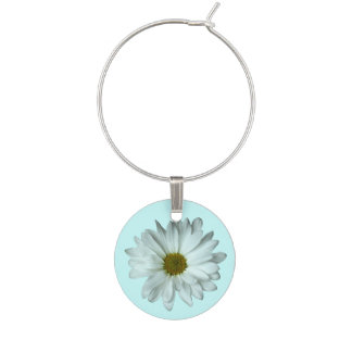 White Daisy Wine Charm