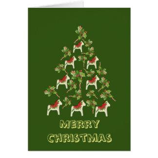 White Dala Horse Christmas Card