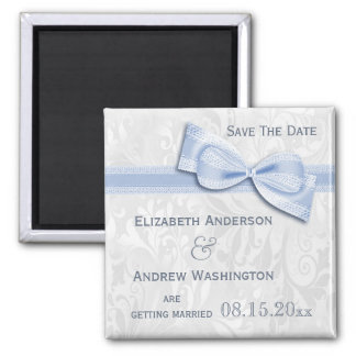 White Damask and Blue Faux Bow Save The Date Square Magnet