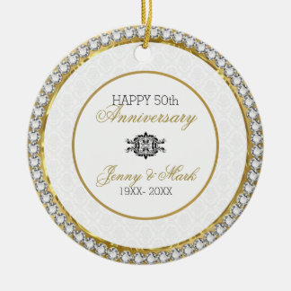 White Damask And Diamonds- 50th Anniversary Christmas Ornament