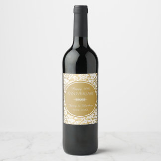 White Damask And Gold Circle- 50th Anniversary Wine Label