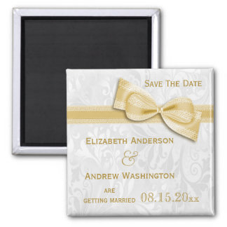 White Damask and Gold Faux Bow Save The Date Square Magnet