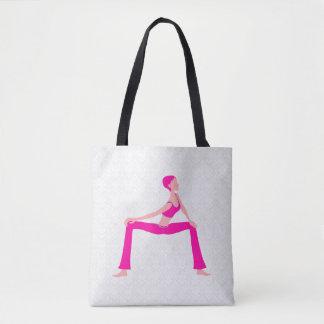 White Damask And Pink And Skin Tones Yoga Pose Tote Bag