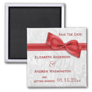 White Damask and Red Faux Bow Save The Date Square Magnet