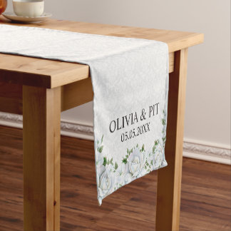 White Damask And Roses- Save The Date Short Table Runner