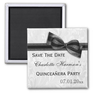 White Damask & Black Bow Quinceañera Save The Date Square Magnet