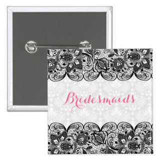 White Damask & Black Lace Bridesmaids Button