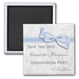 White Damask & Blue Bow Quinceañera Save The Date Square Magnet