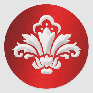 White Damask Design on Red Shimmer Round Sticker