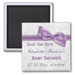 White Damask & Faux Bow Baby Shower Save The Date Square Magnet