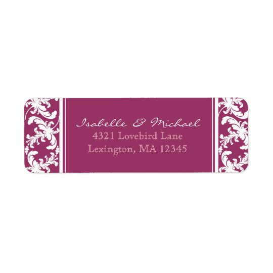 White Damask Floral on Wine Couples Address Labels