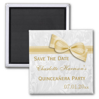 White Damask & Gold Bow Quinceañera Save The Date Square Magnet